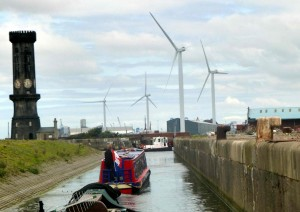 the old (clock tower, the new (container dock in the distance) and the renewable. Very cool to be part of it all